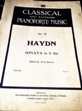 VINTAGE SHEET MUSIC BOOK HAYDN SONATA IN E FLAT YORK BOWEN #35 A.B. 668 PIANO